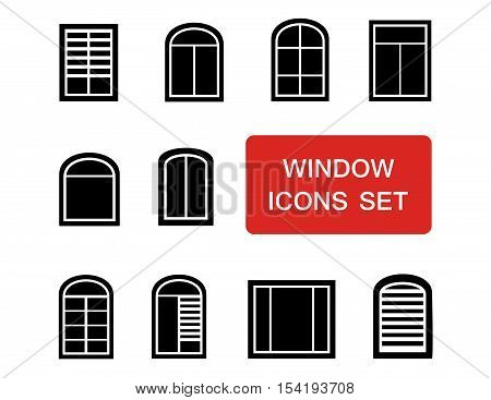 window isolated icons set for interior production with red signboard