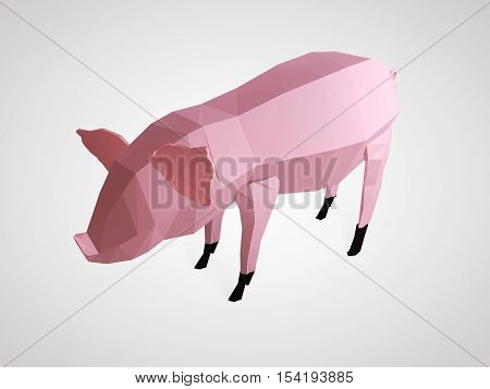 Origami pig. Polygonal pig side view. Geometric style pink pig with black hooves. 3D illustration