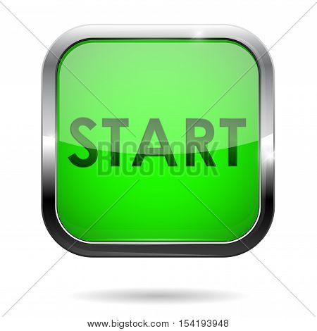 Start button. Green square web icon with chrome frame. Vector illustration isolated on white background