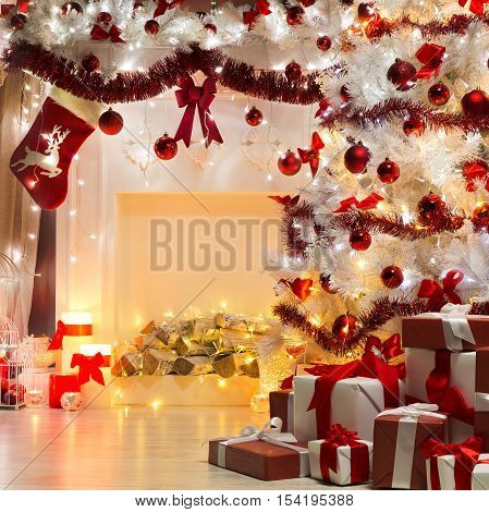 Christmas Tree Presents and Fireplace Decorated by Sock Balls Ribons Xmas Indoors Decoration