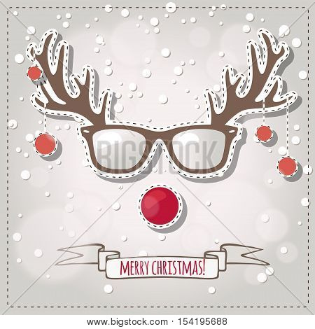 vector greeting card for Christmas with Rudolf the red nose