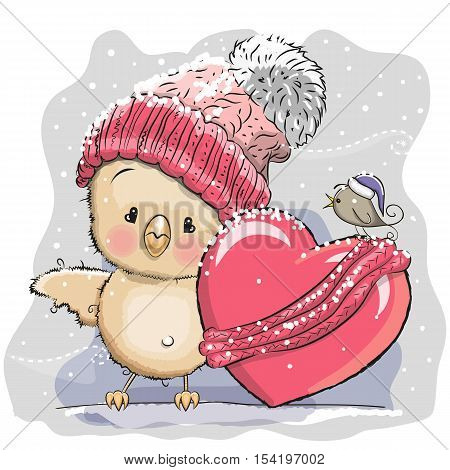 Cute Cartoon Chicken in a knitted cap and a heart wrapped in a scarf