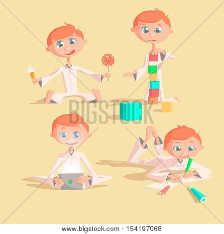 Little lovely baby boy playing with toys. Kid builds house from cubes. Kid draws pencils. Kid plays a pad. Kid eats sweets Colorful vector illustration set