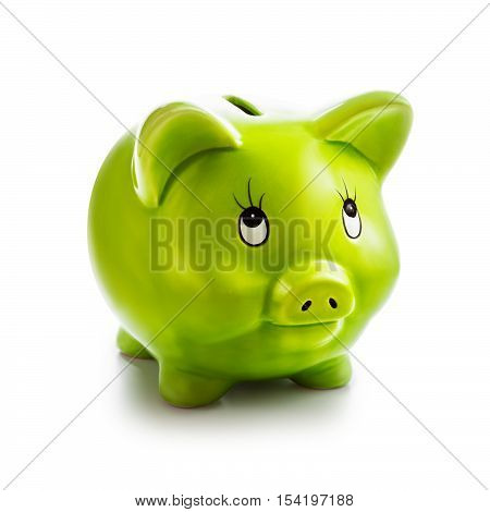 Piggy bank isolated on white background. Saving money concept. Single object with clipping path