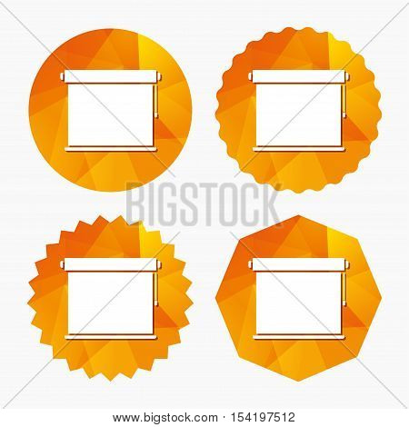 Louvers rolls sign icon. Window blinds or jalousie symbol. Triangular low poly buttons with flat icon. Vector