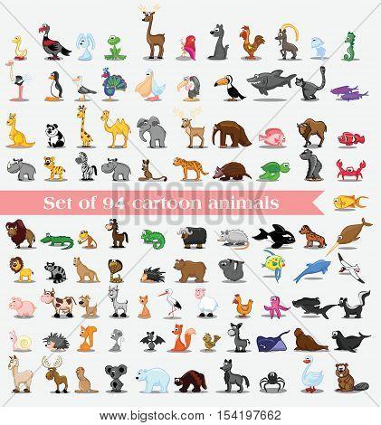 Set of 94 cute cartoon animals,for your design