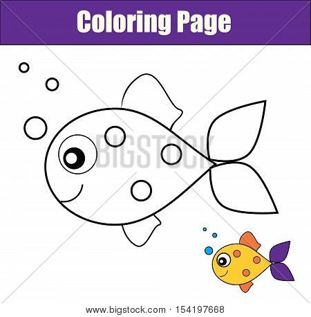 Coloring page with fish. Color the fish drawing activity. Educational game for pre school aged kids animals theme. Printable kids activity