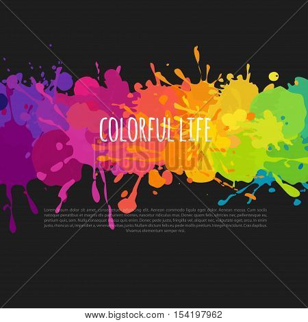 bright and colorful banner with paint stains and splatters on a black background, vector abstract background
