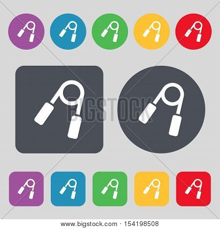 Hand Grip Trainer Icon Sign. A Set Of 12 Colored Buttons. Flat Design. Vector