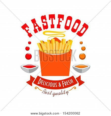 French fries emblem. Best quality fast food label icon with elements of fresh crispy fried french fries in paper box, dipping tomato and chili sauce, red ribbon with text for fast food menu card, signboard, sticker design