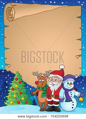 Christmas characters theme parchment 1 - eps10 vector illustration.