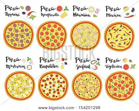 Vector set of hand drawn pizza popular varieties, Margarita, Neapolitan, Pepperoni, Mexican, Hawaiian, Seafood, Vegetarian and hand lettering isolated on a white background.