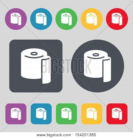 Toilet Paper Icon Sign. A Set Of 12 Colored Buttons. Flat Design. Vector