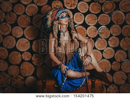 Full Body Beautiful Girl With Painted Face In The National Indian Suit With Ethnic Ornaments, Earrin