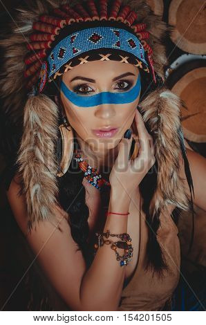 Beautiful Girl With Painted Face In The National Indian Suit With Ethnic Ornaments, Earrings In The