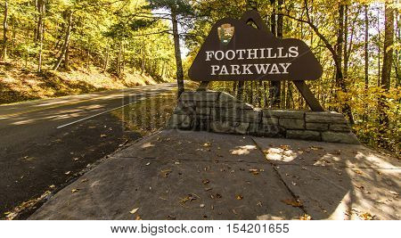 Gatlinburg, Tennessee, USA - October 24, 2016: Entrance sign to the Foothills Parkway in the Great Smoky Mountains National Park.