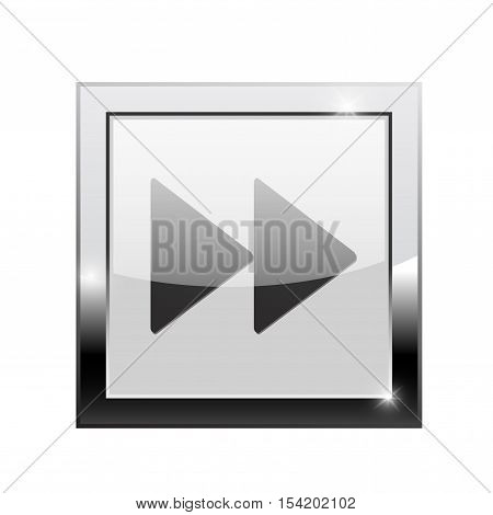 Fast forward button. Square web icon. Vector illustration isolated on white background