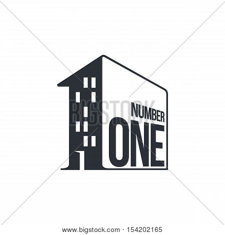 Black and white number one logo as apartment house, vector illustrations isolated on white background. Graphic logo with number one written on a house wall for utility and management companies