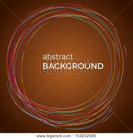 Beautiful light circles on a brown background. Abstract flash light circles. Vector technology background.