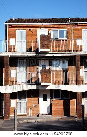 Public council house apartment flats in Carmarthen, Wales, UK