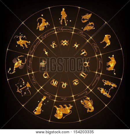 Gold horoscope circle.Circle with signs of zodiac and constellations.Vector illustration
