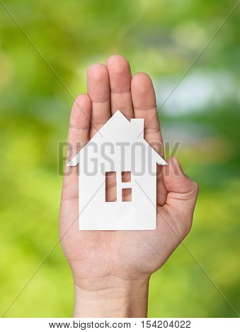 Hand holding white paper house figure on green background. Real Estate Concept.