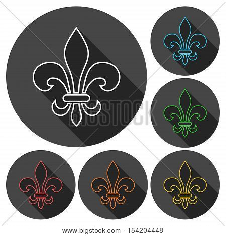 Fleur de lis symbol icons set with long shadow