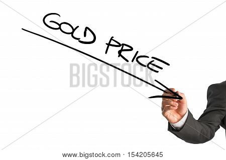 Lower gold price theme with downward arrow and text written by unidentifiable of business man in suit over white background.