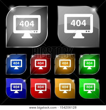 404 Not Found Error Icon Sign. Set Of Ten Colorful Buttons With Glare. Vector