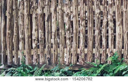 Rough crackled picket wooden fence with clipping paths and green grass on the bottom. For create product display or design key visual layout
