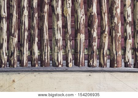 Rough crackled picket wooden fence with clipping paths. For create product display or design key visual layout. Space for text on the bottom