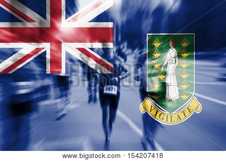 Marathon Runner Motion Blur With Blending  Virgin Islands, Gb Flag