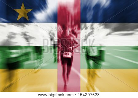 Marathon Runner Motion Blur With Blending  Central African Rep Flag