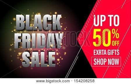 Black Friday Sale banner for online shop. Red price reduce up to 50% off for Black Friday.