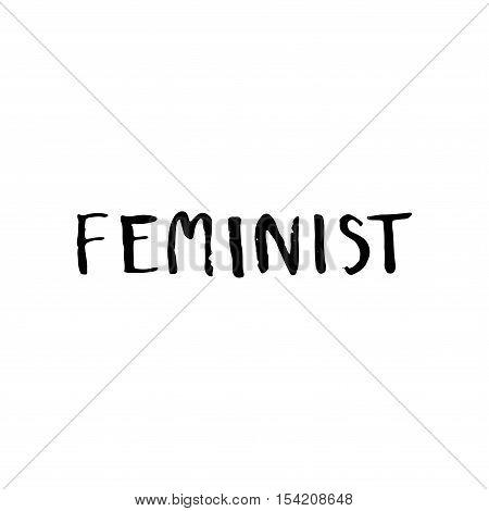 Feminist Word. Lettering Vector.