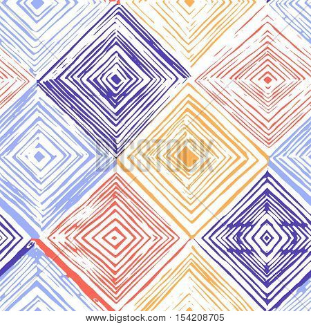Hand drawn rhombus seamless pattern on white background.