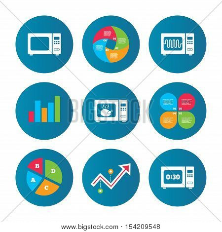 Business pie chart. Growth curve. Presentation buttons. Microwave oven icons. Cook in electric stove symbols. Grill chicken with timer signs. Data analysis. Vector
