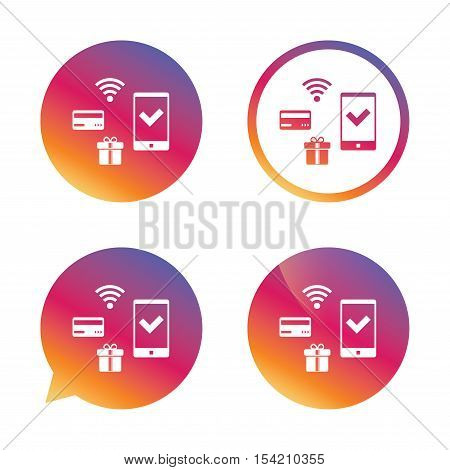 Wireless mobile payments icon. Smartphone, credit card and gift symbol. Gradient buttons with flat icon. Speech bubble sign. Vector
