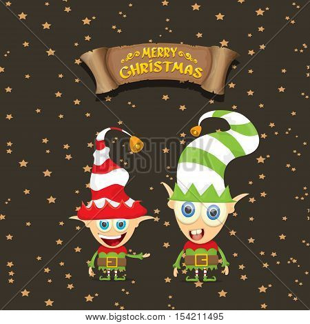 vector cartoon cute merry Christmas elf on brown background with christmas lights and gretting calligraphic text on old vintage paper ribbon. merry christmas vector illustration
