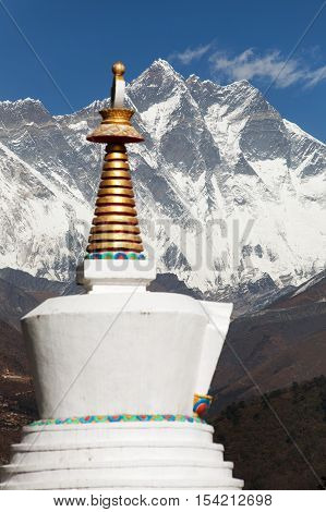 Stupa and Lhotse from Tengboche monastery with beautiful sky - Way to Everest base camp Sagarmatha national park Khumbu valley Nepal