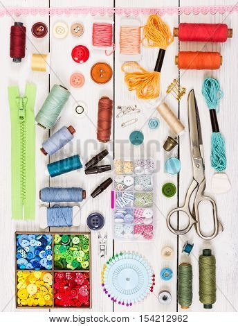Tools And Accessories For Sewing. Top View. Flat Lay Composition.