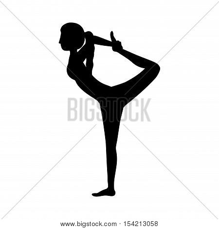 silhouette yoga woman lord of the dance pose three vector illustration