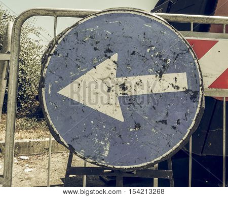 Vintage Looking Keep Left Sign