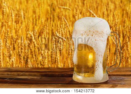 cold mug of beer in a landscape