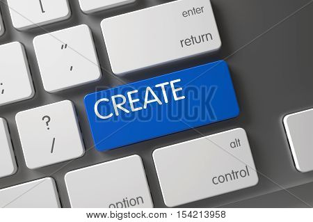 Create Concept Laptop Keyboard with Create on Blue Enter Button Background, Selected Focus. 3D Render.