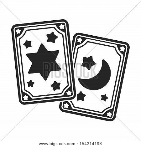 Tarot cards icon in black style isolated on white background. Black and white magic symbol vector illustration.