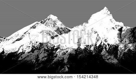 Abstract silhouette of Mount Everest from Kala Patthar Sagarmatha national park Khumbu valley Nepal