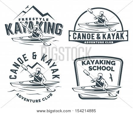 Set of kayak and canoe logo emblems and badges. Man in a kayak vector illustration.