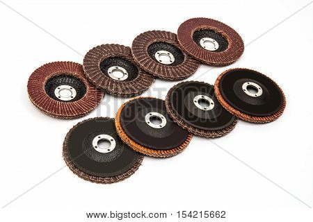 Grinding and polishing wheels discs on white background