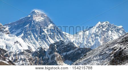 Top of Mount Everest from Gokyo valley with southern saddle and Lhotse - way to Everest base camp - Nepal